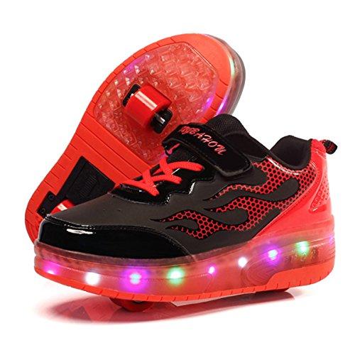 Unisex Skateboard Schuhe Rollschuh Schuhe Einzelrad Rollenschuhe LED-Skateboard Lichter blinken Schuhe Räder Schuhe Turnschuhe mit 2 Rollen (37 EU, Schwarzes # 1) (Schwarz Skateboard-schuh)