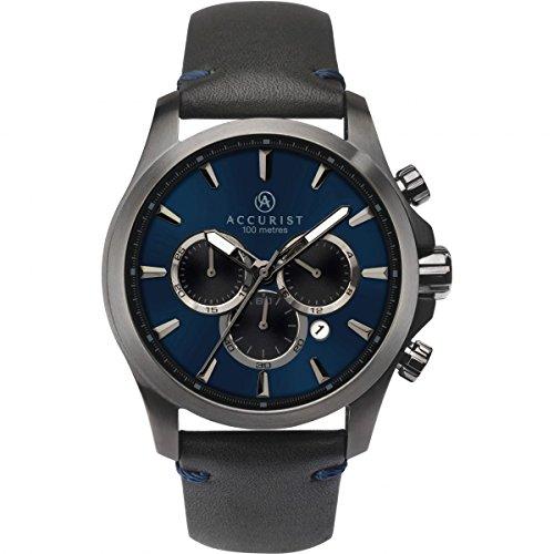 Accurist para hombre analógico reloj con mecanismo de cuarzo correa de piel negro y azul Dial 7180