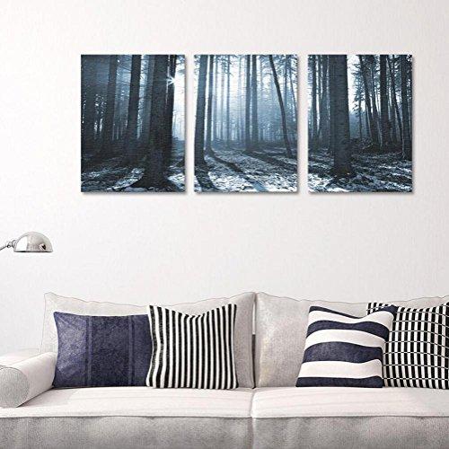 YYH 3 panneaux Grands arbres Toile de peinture Paysage forestier pour Salon Fond Décorations de restaurant Peintures Murales