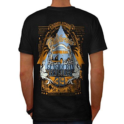 Strand Strand Kalifornien Bucht Kleider Herren S T-shirt Zurück | Wellcoda (Bucht Hawaii-shirt)