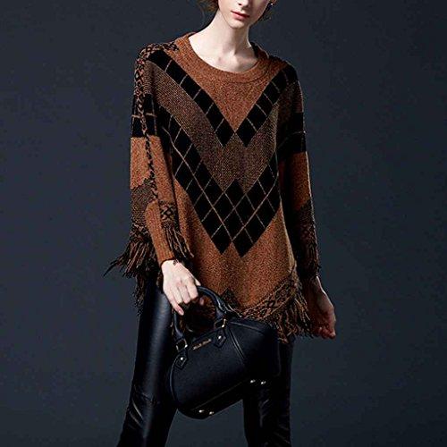 Maniche a pipistrello manica a pipistrello nappa pullover lavorato a maglia maglione mantello con collo a scialle o-collo manica lunga Minzhi caffè