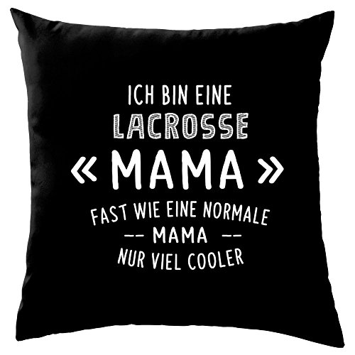 Dressdown Ich Bin eine Lacrosse Mama - Dekokissen 41 x 41 cm - Schwarz -