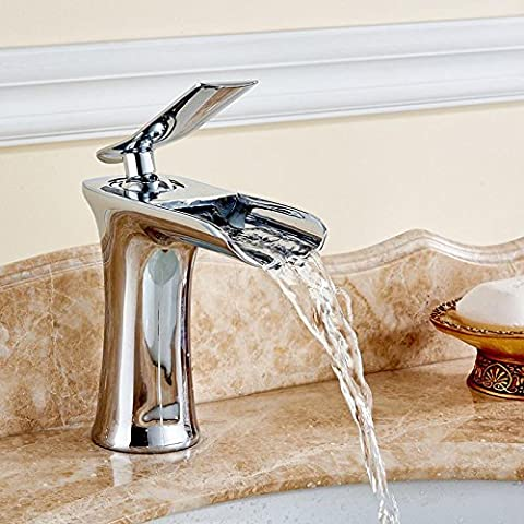 modylee finitura cromata colore: bianco e cascata bagno rubinetto miscelatore per lavabo con acqua calda e fredda 6009rubinetto, 1