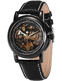 KS KS036 - Reloj Mecánico Hombre, Correa de Cuero Negro