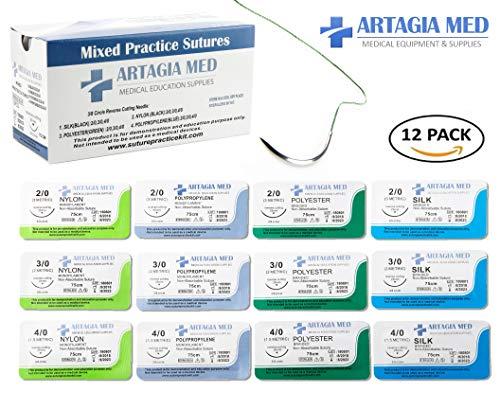 12er Packung medizinisches Nahtmaterial mit Nadeln zum Üben - mit einer großen Auswahl an Materialien und Größen | für praktizierende Ärzte, Medizinstudenten, Tierärzte, Zahnärzte und Krankenschwestern | nur für die Nahtpraxis und Ausbildung