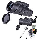 NOCOEX 10X50 Impermeabile Telescopio Monoculare¬Oculare Regolabile Completamente Multi Strato Prisma Ottico BAK4, con Cinghia da Polso/Treppiede e Adattatori Universali per Telefono Cellulare, per Smartphone ,Bird Watching-Nero