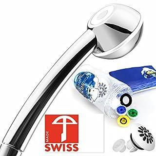 I-SHOWER-Duschkopf-Set: Duschbrause mit hohem Druck, kräftigem Massagestrahl, antikalk, 3 Wasserspar-Einsätze für 4 Durchflussmengen, Softspray-Aufsatz für weichen Regenstrahl; Schweizer Produktion