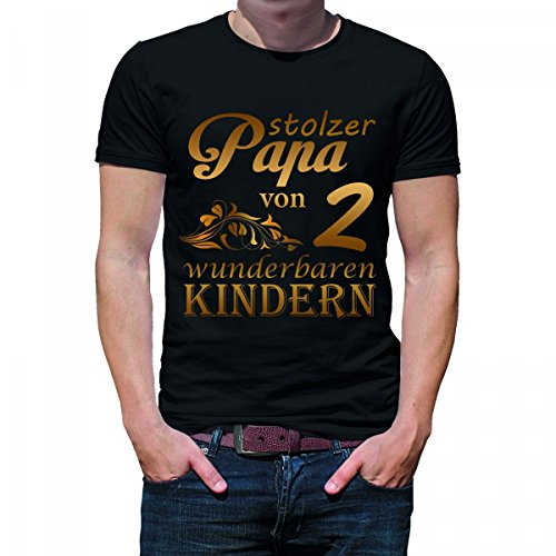 Herren T-Shirt Modell: Stolzer Papa von 2 wunderbaren Kindern 01 - schwarz