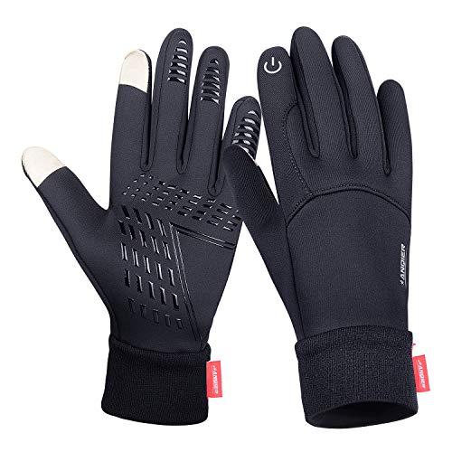 coskefy Fahrradhandschuhe Winter Sport Warm Touchscreen Laufen Arbeit Outdoor Gloves Damen Herren Rutschfest Winddicht schwarz Fitness Camping Wandern Reiten Bergsteigen Spleißen Handschuhe (S)