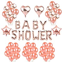 Toupons Baby Shower Party Decorations Balloons, Rose Gold Baby Shower Letter Balloon Banner & 40pcs Latex Balloons & 10pcs Confetti Balloons & 4pcs Star Heart Foil Balloon