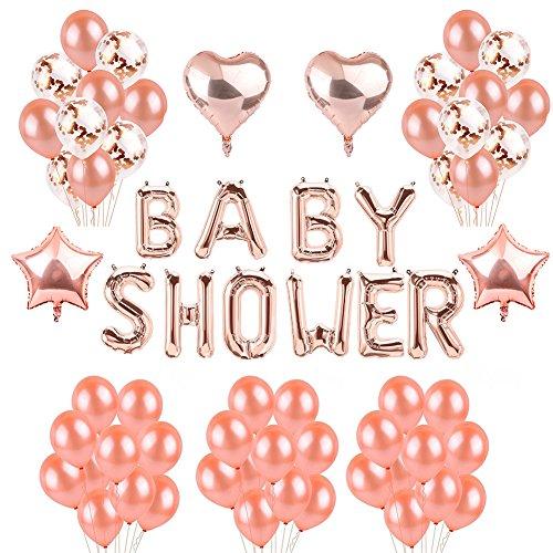 Toupons Rose Gold Baby Shower Party Dekoration Ballons - Baby Shower Brief Ballon Banner & 40pcs Latex Ballons & 10 Stück Konfetti Balloons & 4pcs Sterne Herz Folienballon (Rose Gold-2) -