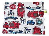 Polizei Feuerwehr Dunkelgrau Minky Fleece Babykissen Kissen Baby Kuschelkissen Buggy Kinderwagen Dünn gefüllt Super weich und flauschig Handarbeit Deutschland