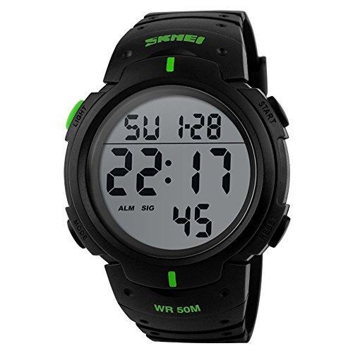 So vedere impermeabile Allarme Mens digitale Sport orologi elettronici Retroilluminazione orologio da polso verde