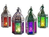 Klass Home Collection Set di 4 Mini Lanterne marocchine in Stile Vintage Turco per Interni ed Esterni, Lanterne in Vetro da Appendere, portacandele