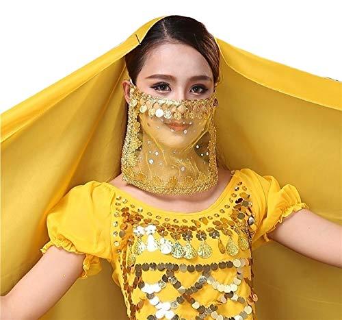 Piccoli monelli velo viso danza del ventre accessorio carnevale per odalisca ragazza donna bambina colore giallo e oro