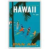 Jet-Klipper Nach Hawaii - Pan American Airlines (PAA) - Hawaiisch SurferVerknüpfung Händen - Vintage Retro Hawaii Reise Plakat Poster von Aaron Fine c.1959 - hawaiianischer Kunstdruck - 33cm x 48cm