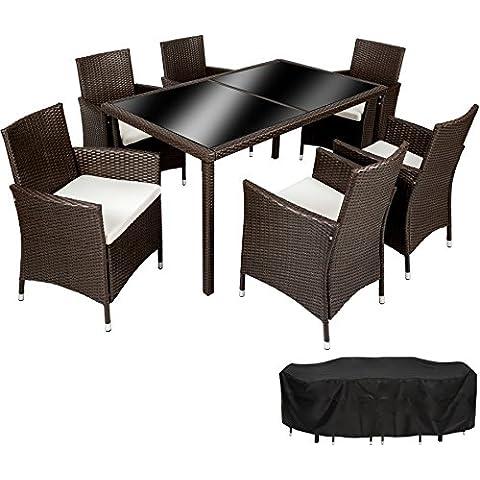 TecTake Conjunto Muebles De Jardín En Ratán Sintético 6+1 | Tornillos De Acero Inoxidable | Funda completa |