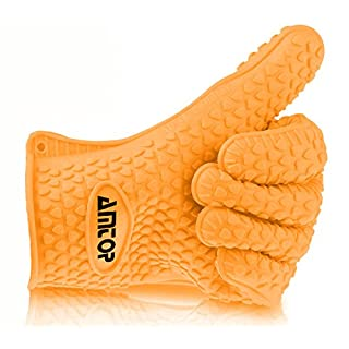 Best Heat Resistant Silicone Oven & Barbecue Glove, BBQ Grilling Glove, Kitchen Cooking Glove, Special for Cooking / Food Prep / House Cleaning / Kitchen / Pot Holding, Dishwasher Safe, Premium Grade FDA Approved - A Glove (Orange)