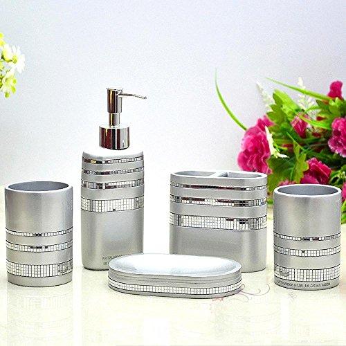 LINA@ Idee bagno stile moda resina diamante argento con cinque pezzi di copertura