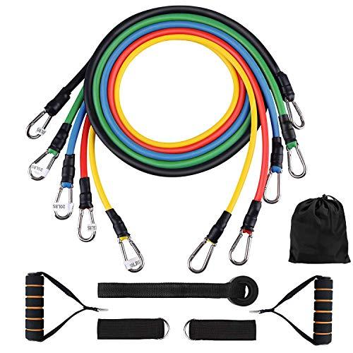 seekool set di fasce di resistenza, 5 bande elastiche in lattice con maniglie, gancio per fissaggio alla porta & cinghie puntapiedi e borsa, per attrezzi da fitness, yoga, pilates,palestra di casa