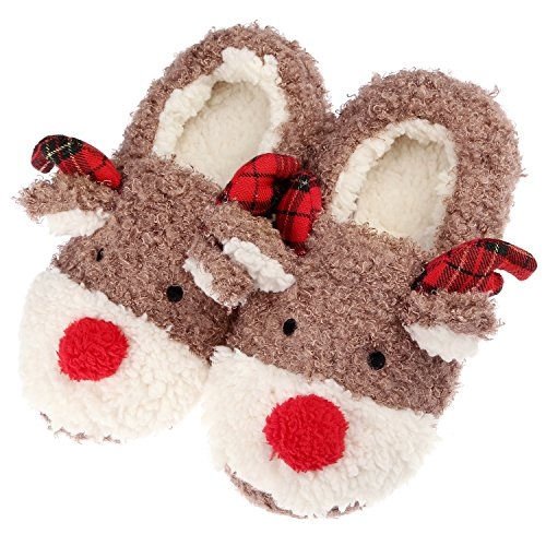 e,Kuschelige Hausschuhe Rentier Hausschuhe Fluffy Womens Indoor Weiblichen Hausschuhe,Bequemen Slip On Memory Foam Nicht Skid Mädchen Hausschuhe Weihnachts Hausschuhe, 39 EU (7 UK) (Beste Weibliche Halloween-kostüme)