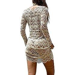 Mujer Pareos Elegante Boho Encaje Crochet Bikini Cubrir Cover Up Blanco Ganchillo Hueco Playa Vestido Pareos Traje De Baño