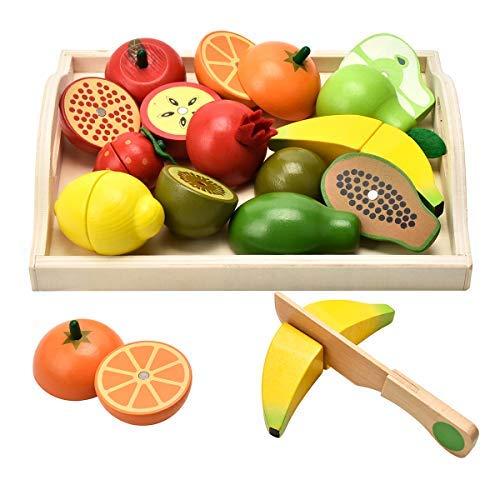 Carlorbo - Holzspielzeug für Kinder, Kücheutensilien, Rollenspiel, magnetisch, Obst und Gemüse, Lernspielzeug Jungen und Mädchen ab 2 Jahren