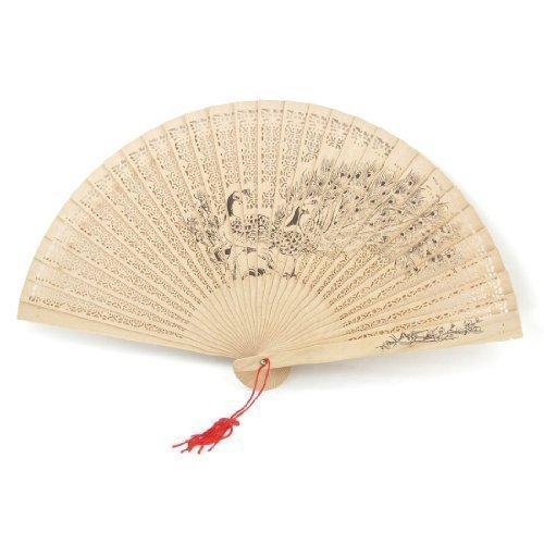 sourcingmap® Handwerkzeug Pfau Muster Sandelholz duftend Klappfächer Handfächer mit Quast de