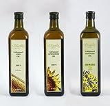 Grapoila Paquete de aceite prensado en frío (aceite de maíz prensado en frío 750 ml, aceite de girasol orgánico 750 ml, aceite de colza 750 ml)