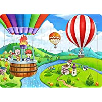 Yobooom Wood Jigsaw Puzzles 60 Pieces for Kids Ages 4-8 (Hot Air Balloon)