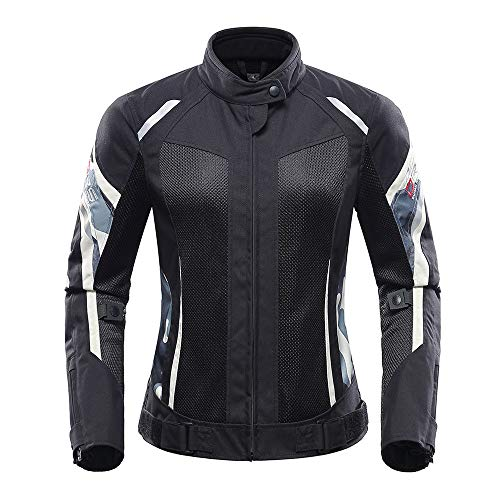 Leder-wasserdichte Jersey (TIUTIU Motorradjacke Radsportjacke Damen Sommer Mesh Jersey Langarm Airy Slim Racing Anzug Mit Reflektierendem Material (Black,L))