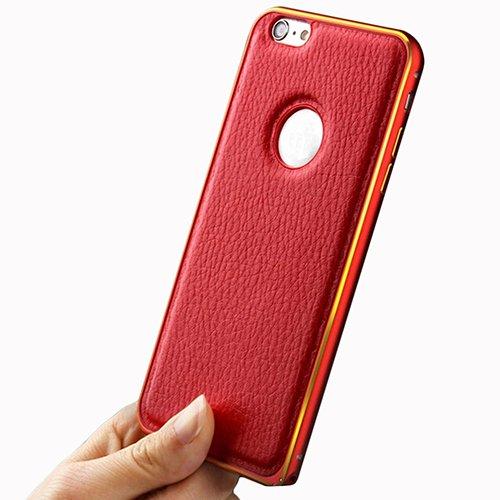 """F8Q luxe en cuir PU métal Bumper cadre Housse de protection pour iPhone 6 plus/6S plus 5.5 """" Noir"""