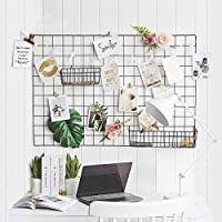 GBYAN Grid Wall Panel (Pack of 2) Decorative Iron Rack Clip, Painted Wire Photograph Grid Wall Hanging Picture Multifunctional Photo Hanging Display Wall Storage Organizer,25.6inch x17.7inch, Black