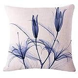 Xmiral Kissenbezüge Pillowcase Blumen Drucken Flachs Quadratischer Zierkissenbezüge Abnehmbar und waschbar(E)