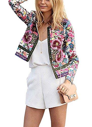 Damen Floral Print Kurz Jacke Outwear Strickjacken Coat Mäntel Blumen Langarm Blazer