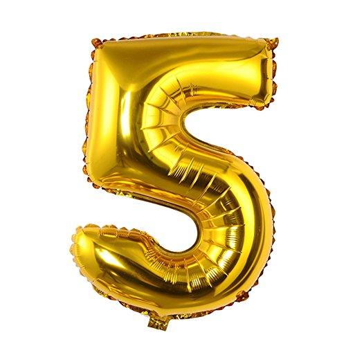 gaeruite Globos de 90 cm con números grandes, globos de aluminio para decoración de fiestas, tamaño grande, color dorado y plateado, se puede flotar con helio, dorado, 5