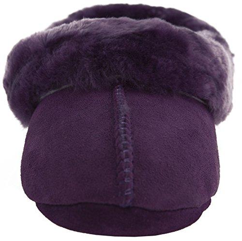 Mesdames complet en peau de mouton Pantoufle Semelle en suède doux/tailles 3–9UK (Prune, Vison, marron) Violet - Prune