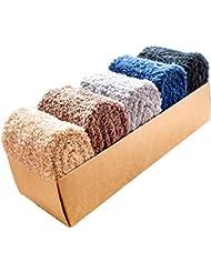 Socks ZY 5 pares de caja de regalo. Calcetines gruesos, además de terciopelo de coral calcetines calcetines de los hombres de la cachemira de suelo se aplacan los calcetines del sueño ancianos calcetines calientes , f