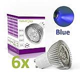 Hakkatronics® 6uds 6W GU10 LED Lámpara Bombillas lámpara ahorro de energía Azul, 400Lumen Reemplaza 35W, 60º ángulo del haz AC 220V