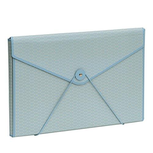 Semikolon Kuvertmappe mit Gummiverschluss Seigaiha-Muster ciel (hell-blau)) | Stabile Sammelmappe...