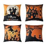 MIULEE Lot de 4 Housse Coussin de Canapé Lin Impression Halloween Série de Decoration Canapé Maison Chambre Lit Taie d'oreiller 18'x18' 45X45cm