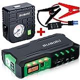 Suaoki Auto Starthilfe 18000mAh 600A Autobatterie Anlasser und Ladegerät, LCD Display und LED Taschenlampe für Laptop, Smartphone, Tablet und vieles mehr (Schwarz/ Grün)