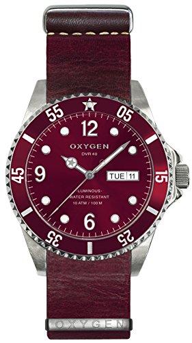 OXYGEN - EX-D-GRA-40-NL-PL - Montre Mixte - Quartz - Analogique - aiguilles luminescentes - Bracelet Cuir Rouge
