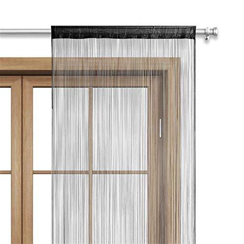 fadenvorhang schwarz WOMETO Fadenvorhang Türvorhang 90x245 Stangendurchzug Schlaufe - schwarz waschbar