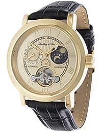 Lindberg & Sons CAP13G206B - Reloj mecanico automatico analogico de pulsera con diamante real para hombre, visualizacion de 24 horas, con correa de cuero negro