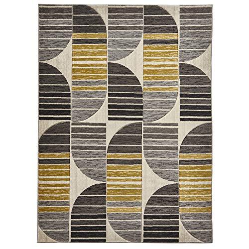 HomeLinenStore modernen geometrischen Streifen Design langlebig, Beige/Gelb getuftet Teppich/Teppich Teppiche, Polypropylen, Beige/Yellow, 120 x 170 cm -