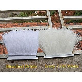 Frange en plumes d'autruche pour confection de vêtements et chapeaux, 34Couleurs blanc