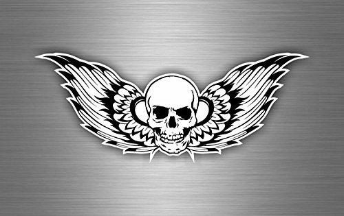 Sticker Biker Auto Motorrad Helm, Motiv Engel Totenkopf Pirat Schwarz