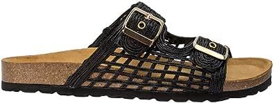 Sandalo piatto Bio Rafia nero