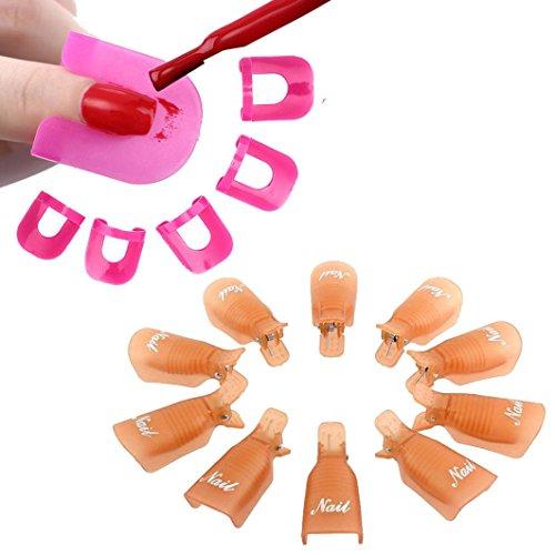 Tonsee 10Pcs Nail Art Soak Off Cap clip UV Gel Polish Remover Wrap+26pcs Nail Modèle Spill Protector manucure Preuve Outils, Orange
